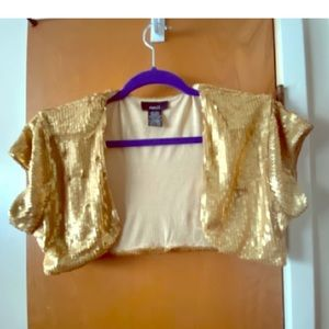 Stylish rue21 gold sequin bolero in XL is cool fun